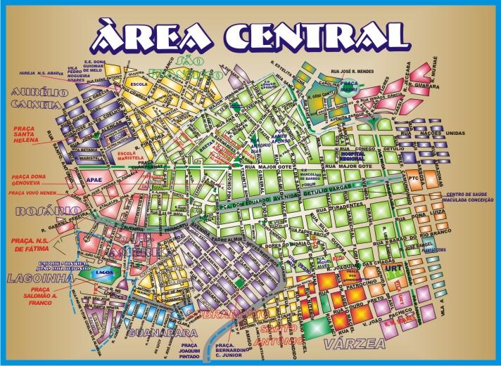 Patos de Minas - Mapa da Àrea Central