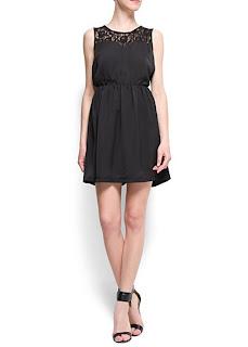 mango siyah elbise