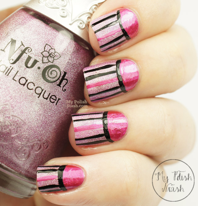 hot pink stripes and half moon nail design