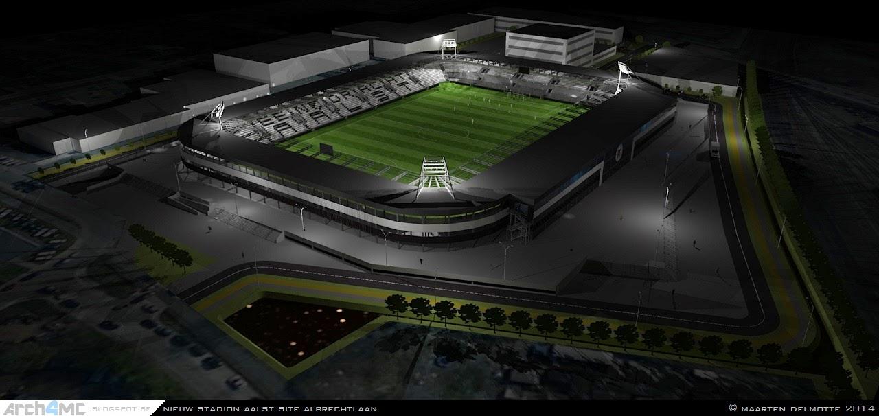Een avondimpressie van het stadion in zijn omgeving.