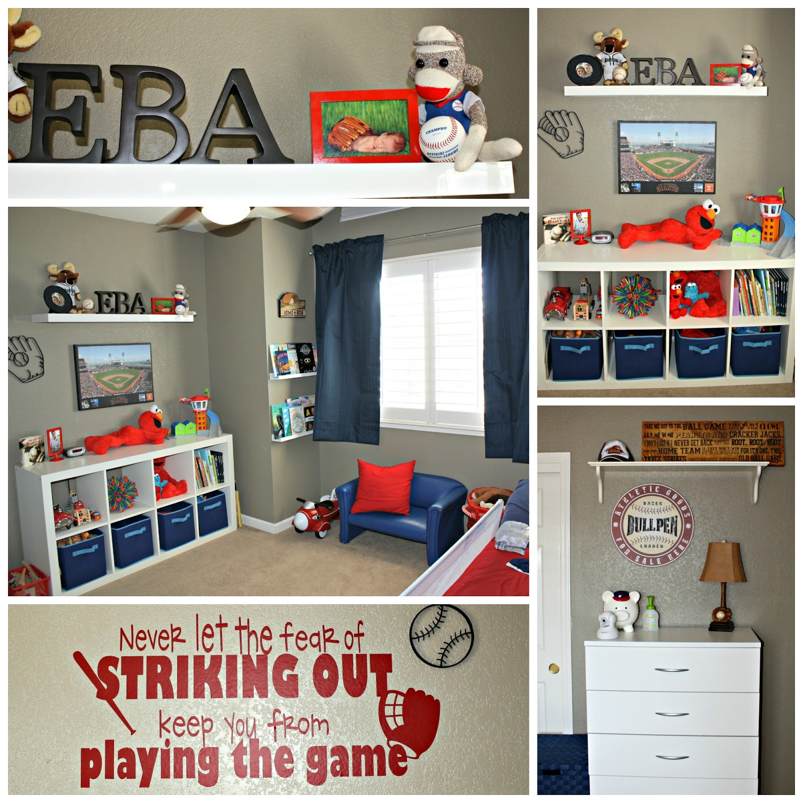 Dad Did Such A Great Job Decorating The Baseball Themed Room With Accents Of Red White And Blue Its Perfect For Loving Toddler