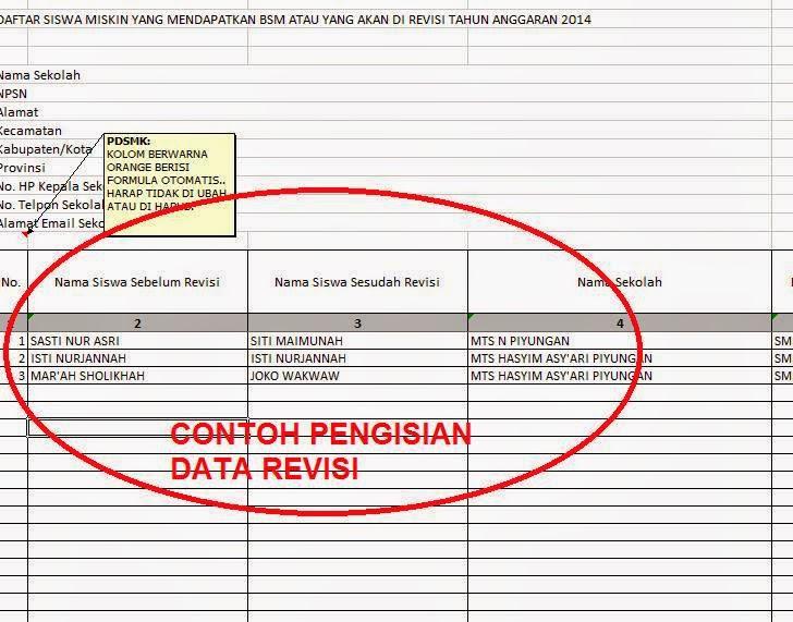 CONTOH INFORMASI REVISI BSM TAHUN 2014