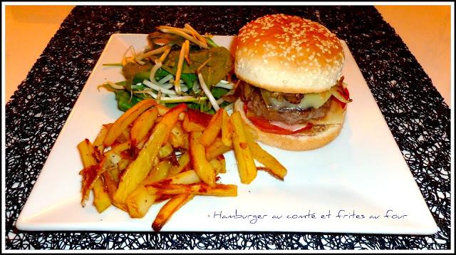 image Hamburger au comté et frites au four maison