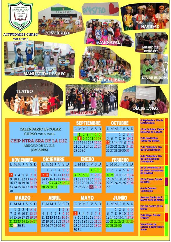 Calendario Escolar Curso 2015-2016