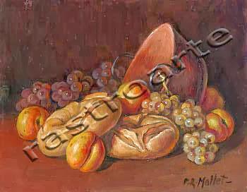 Bodegón con caldera de cobre, albaricoques, panes y uvas