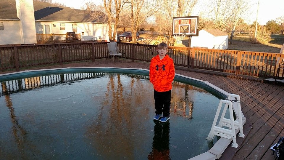Shawn walks on water in his pool