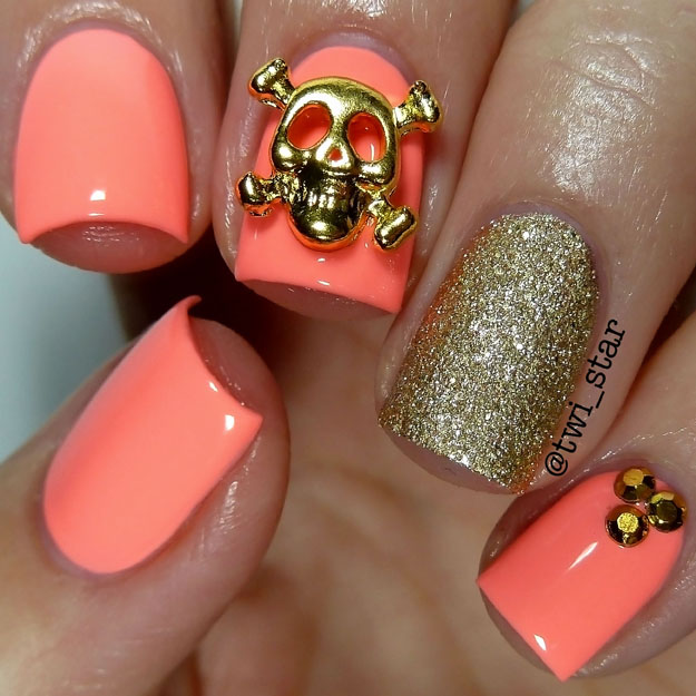 Color Club East Austin Neon Peach Gold skull mani