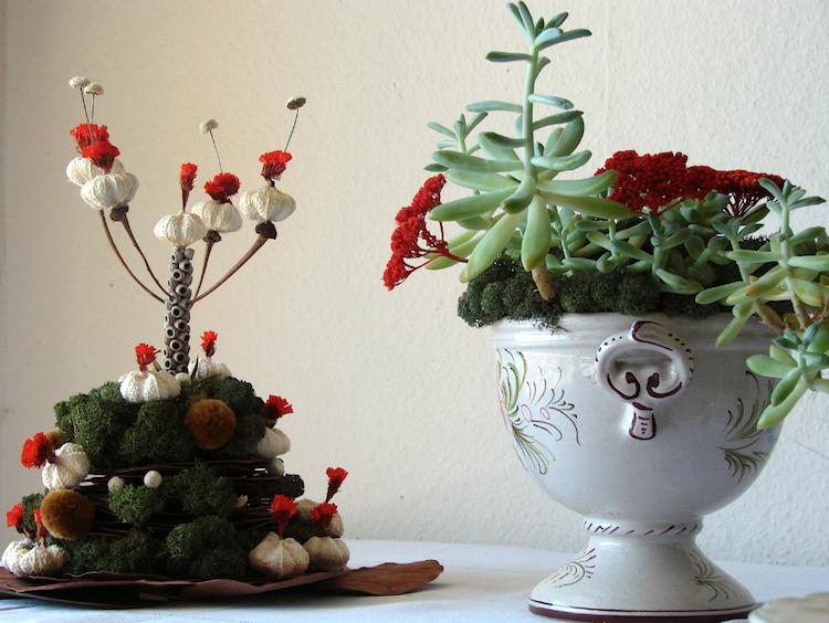 centrotavola in carta ed elementi naturali per Natale ad Abilmente