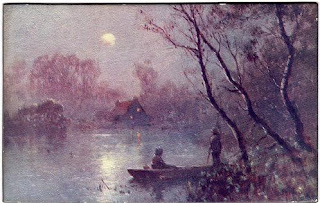 Vintage panel postcard of a moonlit lake scene