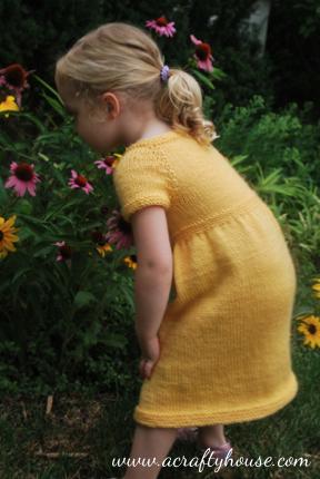 Little Girl Top Down Raglan Dress Knitting Pattern
