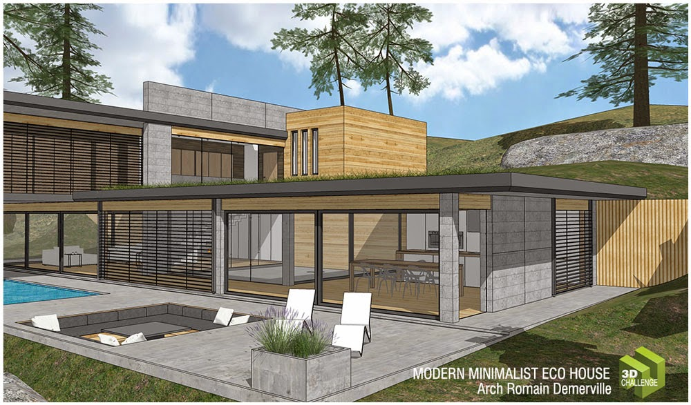 Sketchup texture 3d challenge august 2014 modern for Eco home plans