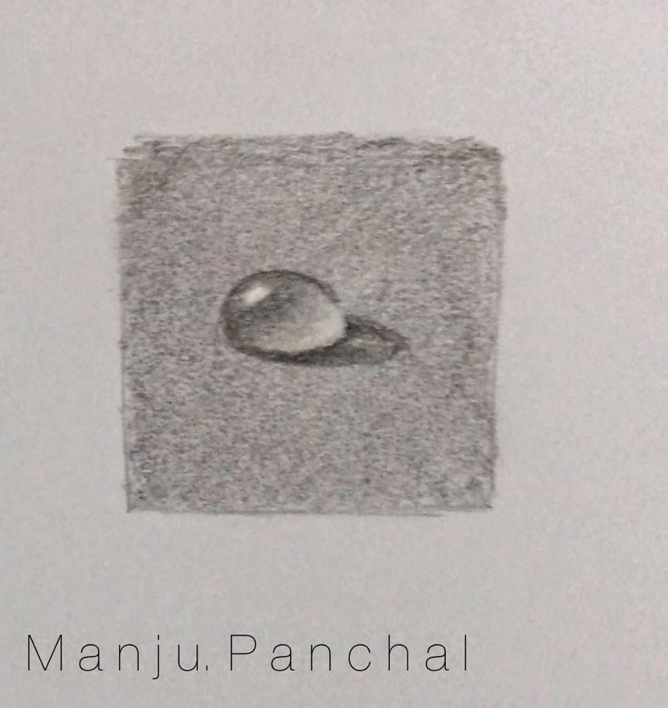 painting of water drop in graphite by manju panchal