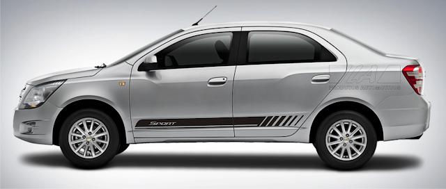 Faixa lateral adesiva para Chevrolet Cobalt lançamento Laura Adesivos 2015 2016