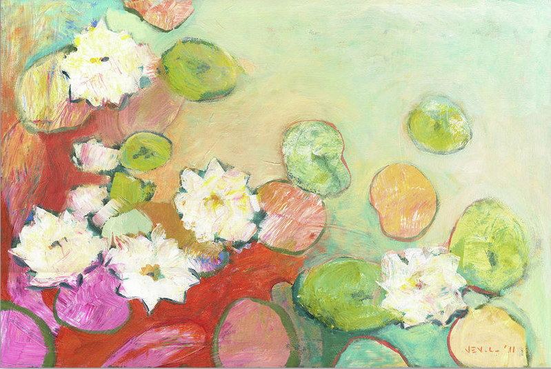 water lillies painting by Jennifer Lommers