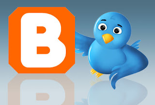 Twitter cartoon bird with Blogger logo