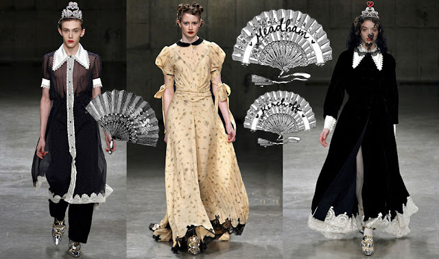 Meadham Kirchhoff FW 2013 long dress Victorian fan collage.