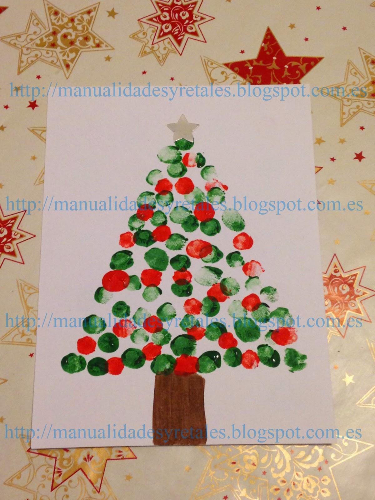 Manualidades y retales postal navide a pintura ni os - Tarjetas de navidad hechas por ninos ...