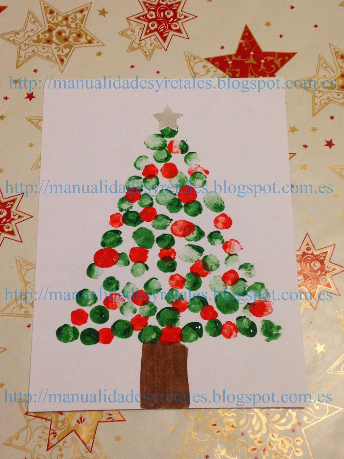 Manualidades y retales postal navide a pintura ni os - Postal navidena infantil ...