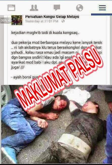 Berita Palsu Pekerja MCD Dipukul Di Kuala Kangsar Perak