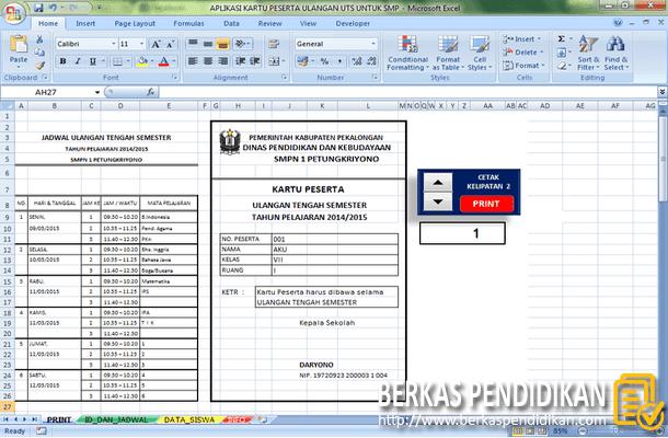 Aplikasi Kartu Peserta Ulangan Ujian UTS SMP Format Microsoft Excel
