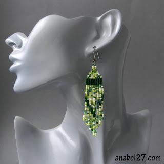 зеленые весенние серьги - длинные бисерные серьги с бахромой