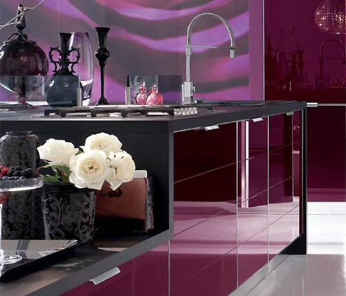 Modern Kitchen Cabinet Purple Design