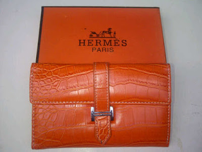Dompet Wanita Hermes Lipat Orange