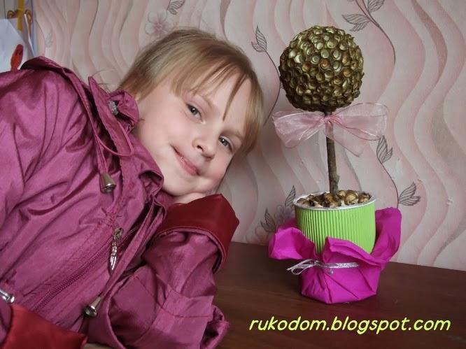 "Деревянные ""розочки"" - топиарий"