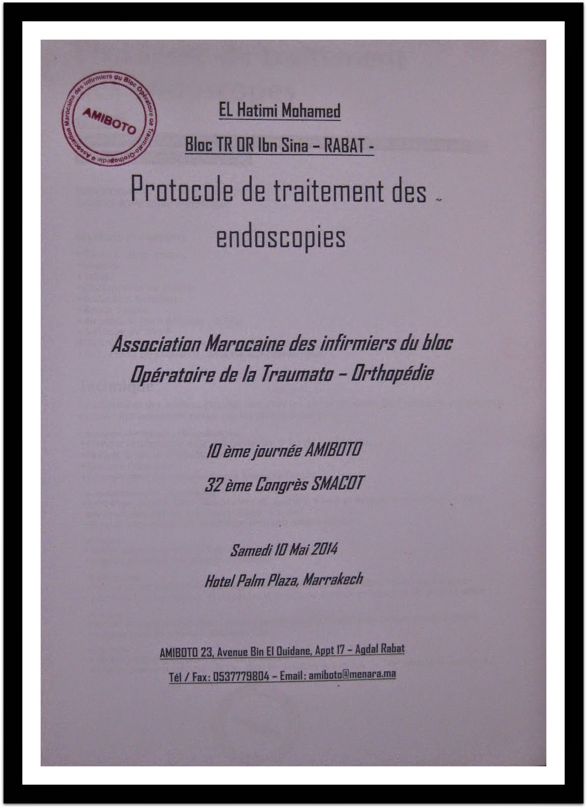 PRATOCOLE TRAITEMENT DES EMDOSCOPIES