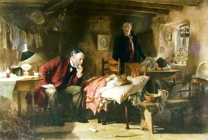 Médico que atiende a una niña enferma y a su trite familia