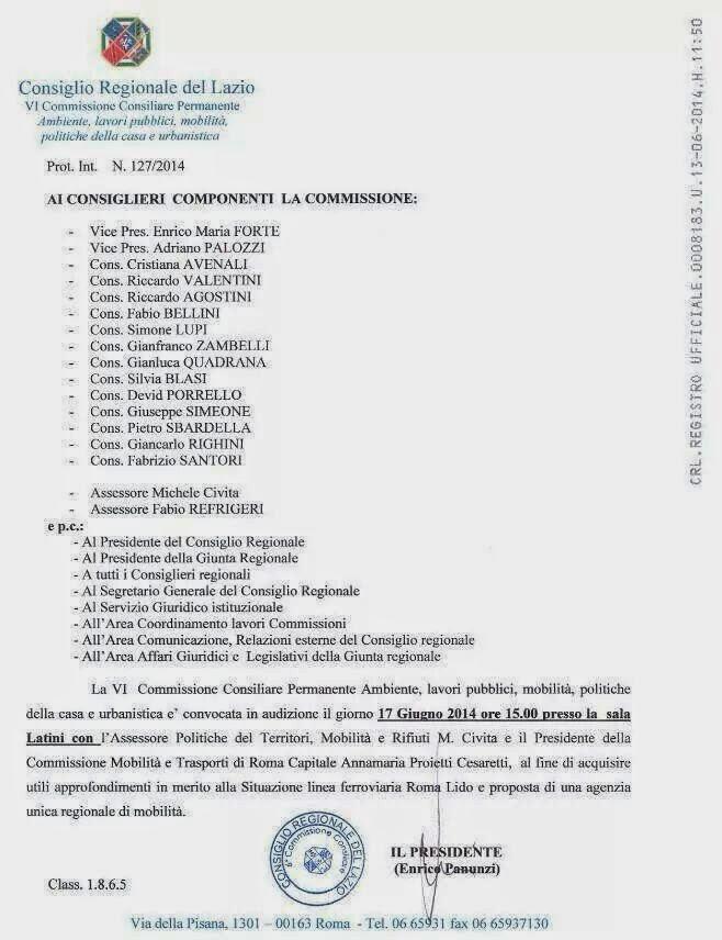 Commissione mobilità Regione Lazio: Argomento Roma-Lido