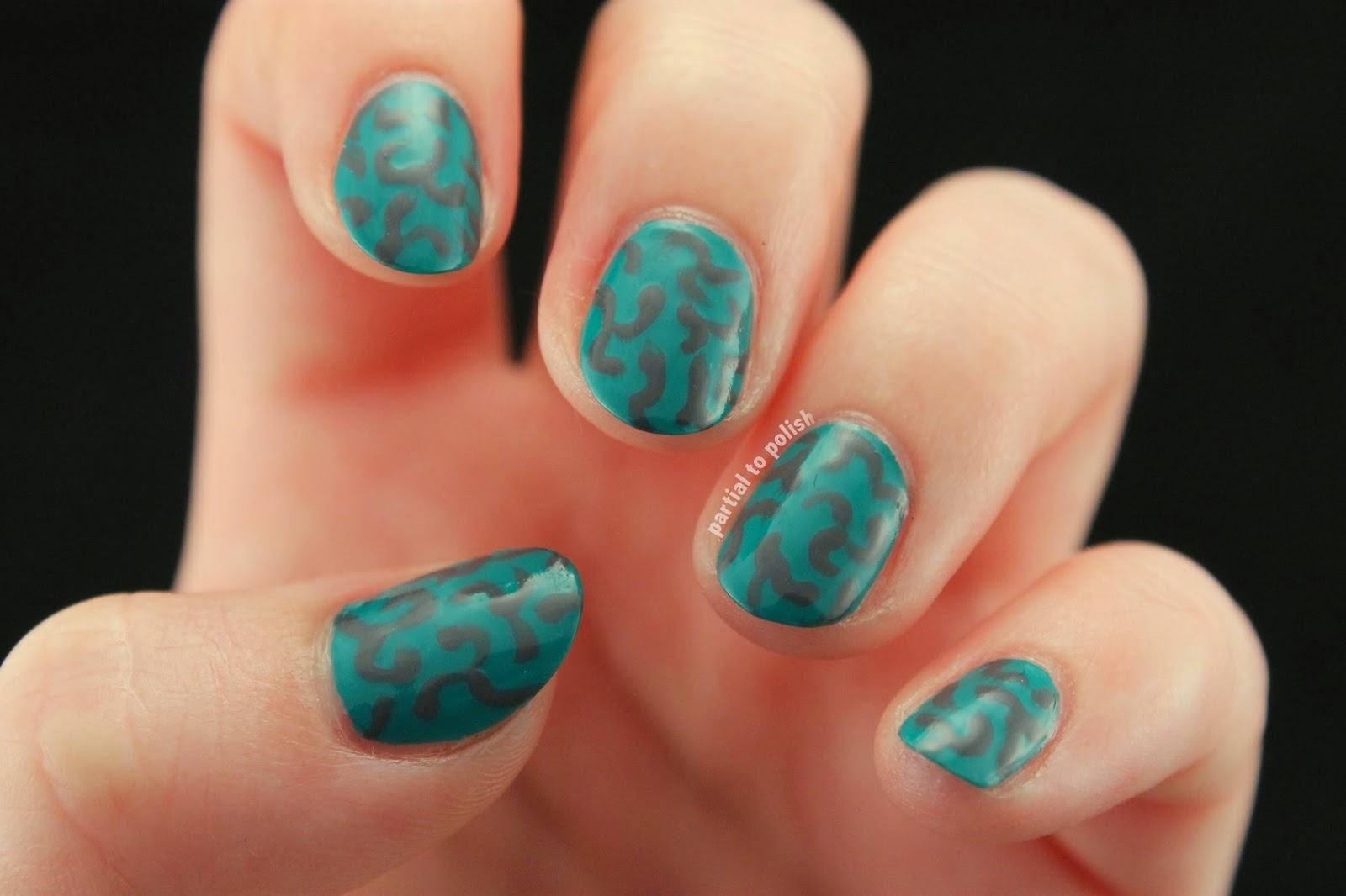 Abstract Green Brain Nail Art & American Apparel Malibu Green Review!