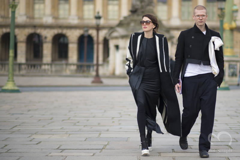 Fashion Designer Lilia Litkovskaya and Brand Manager Venya Brykalin at Paris Fashion Week 2014 Fall Winter PFW Season