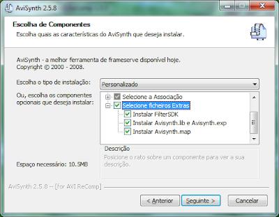 AVI Recomp - Seleccionar ficheiros