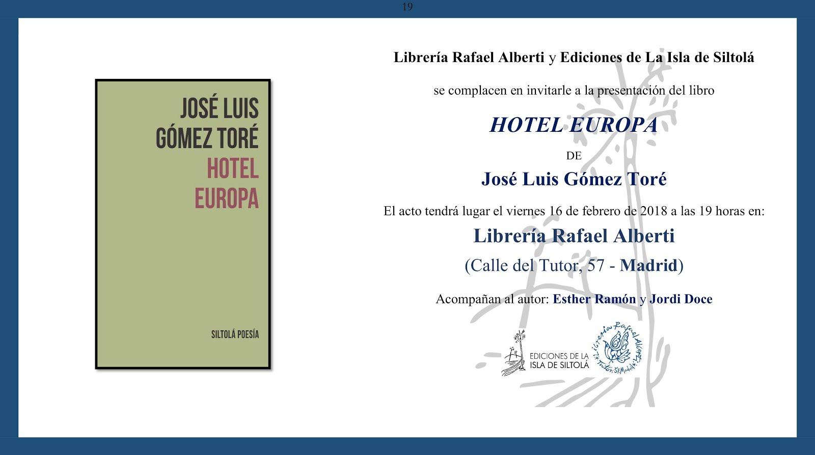 PRESENTACIÓN DEL LIBRO HOTEL EUROPA