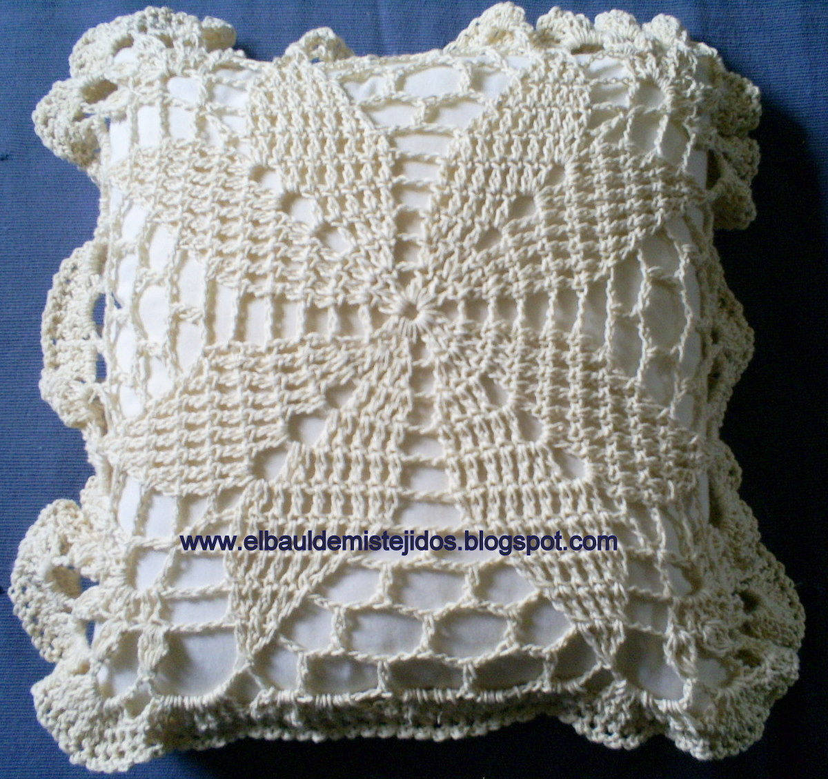 El ba l de mis tejidos cubrecama de hilo a crochet - Cojin de crochet ...