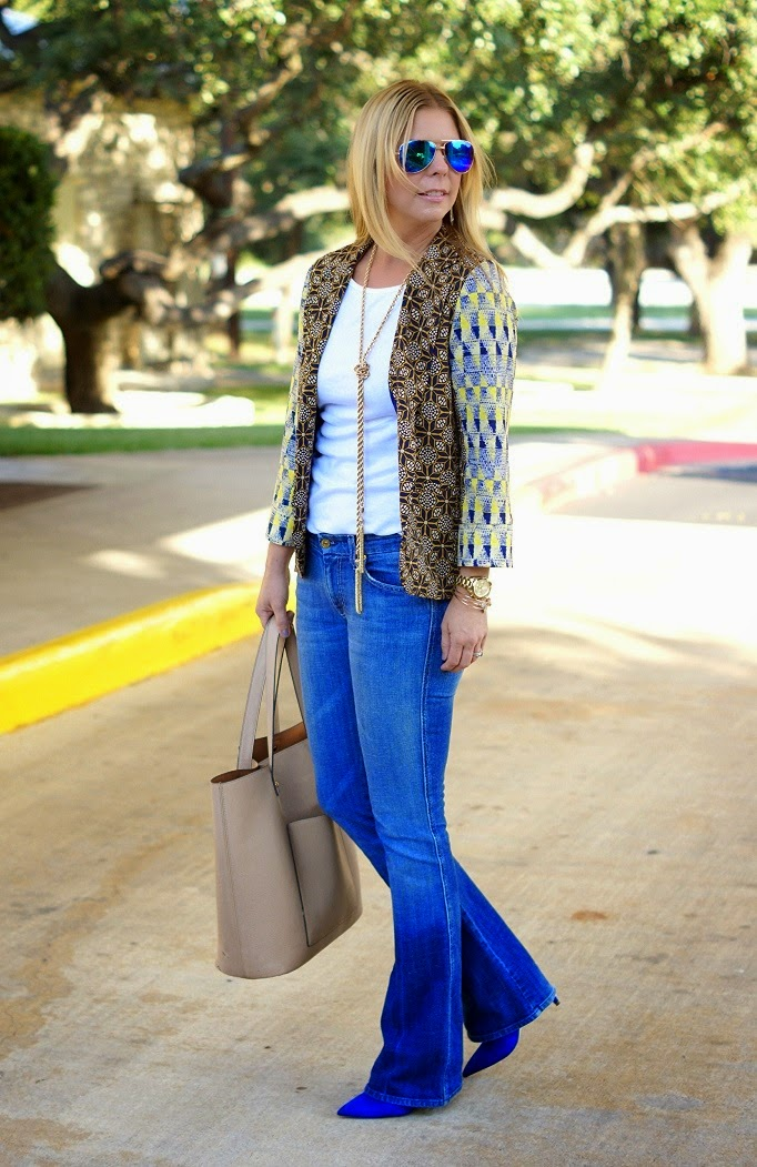 Fall Style Outfit Idea blazer, denim and heels