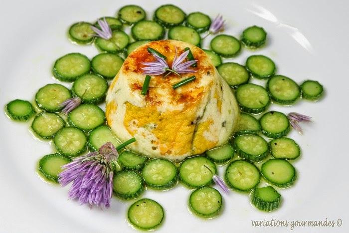 courgettes-fleurs ,fleurs de courgettes, légumes, timbales, flan,cébette, huile d'olive, brousse,oeufs, entrée
