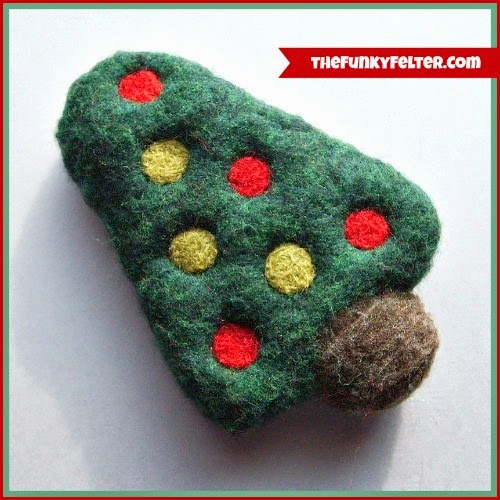needle and wet felted Christmas tree craft decoration by the funky felter