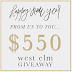 $550 GIVEAWAY to West Elm!