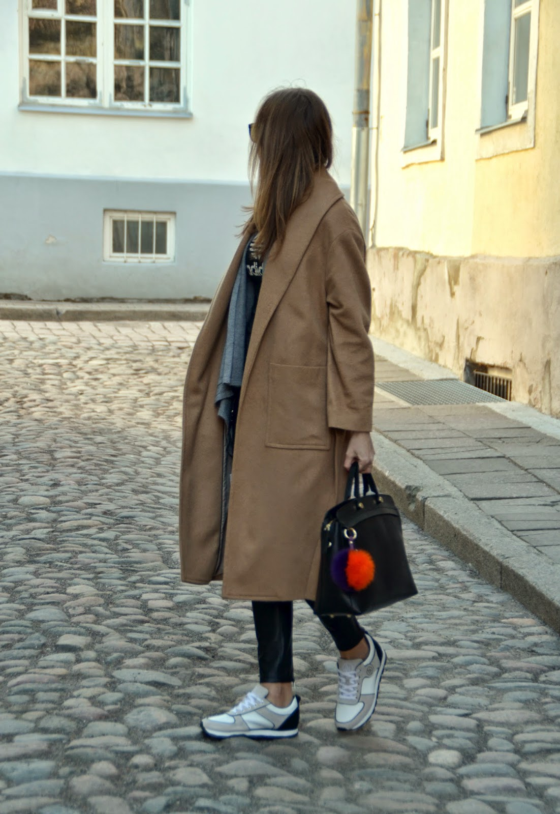 mango-camel-coat-armani-jeans-sneakers-furla-bag-pom-pom-key-ring