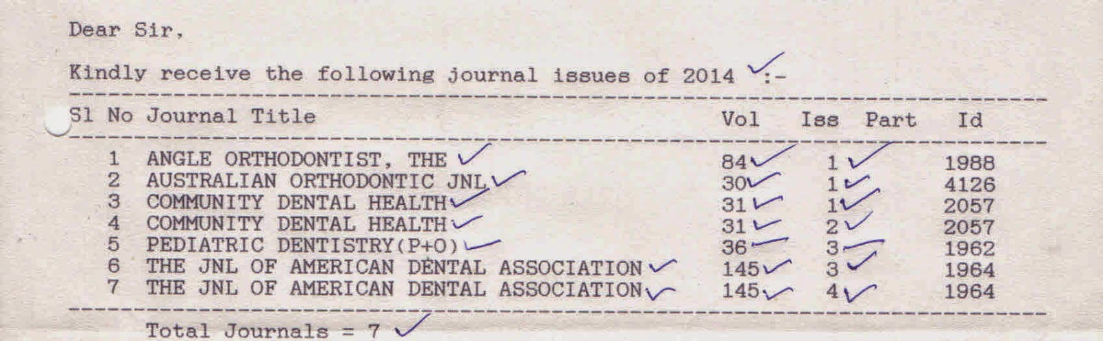 recevied journals list for the year 2014 as on 29 09 2014