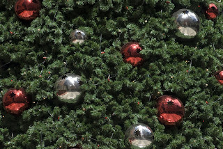 Christmas baubles red and yellow color decorated in Christmas tree photo