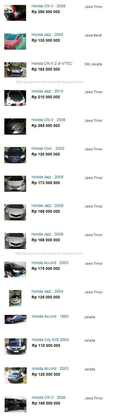 daftar harga mobil bekas merk honda semua type dan tahun terbaru