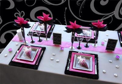 """Décoration de table de mariage  """"rose et noire"""""""