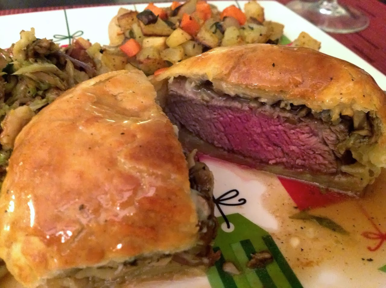 Beef wellington with gorgonzola cheese