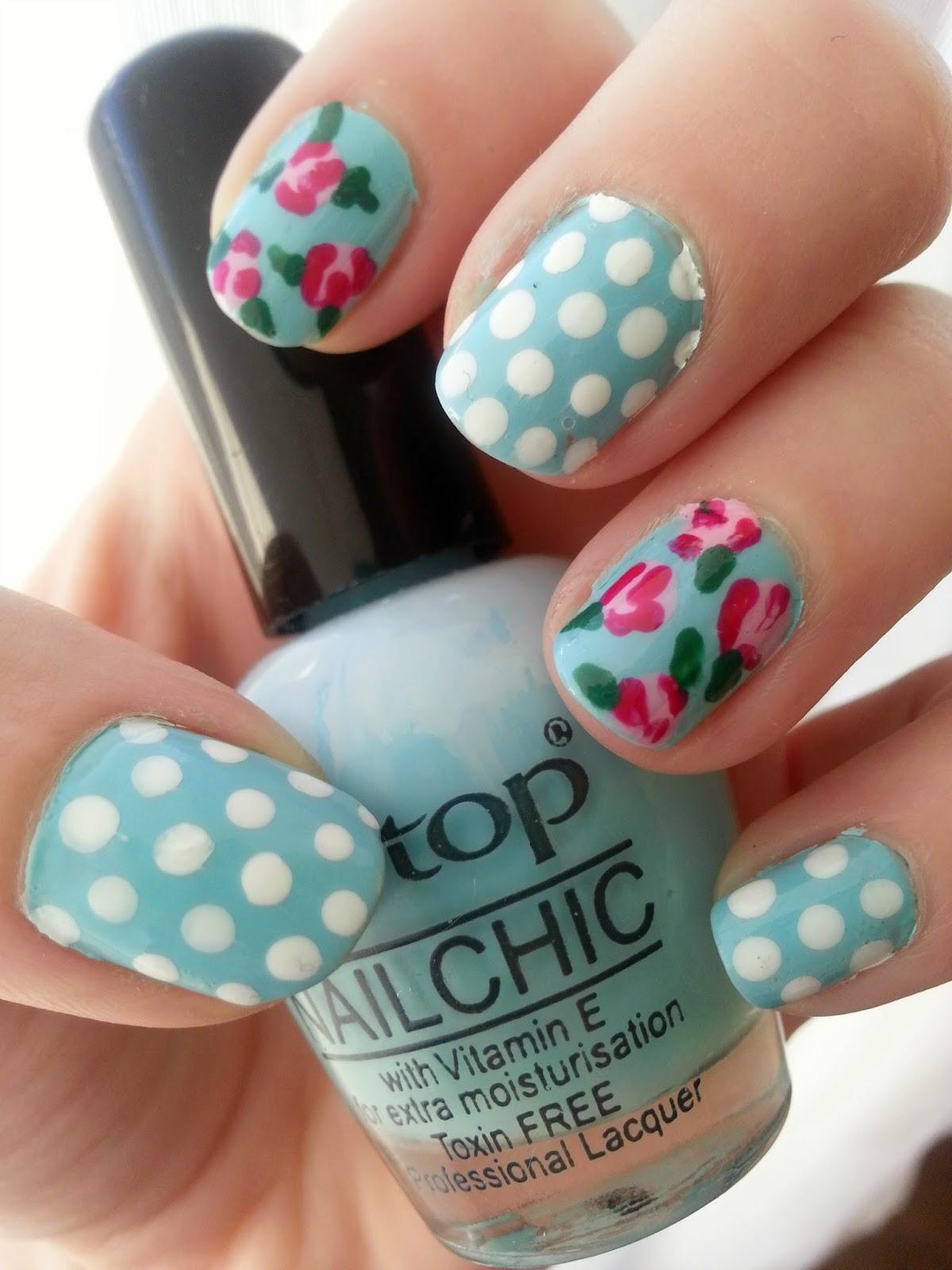 spring flowers roses polka dot nail art