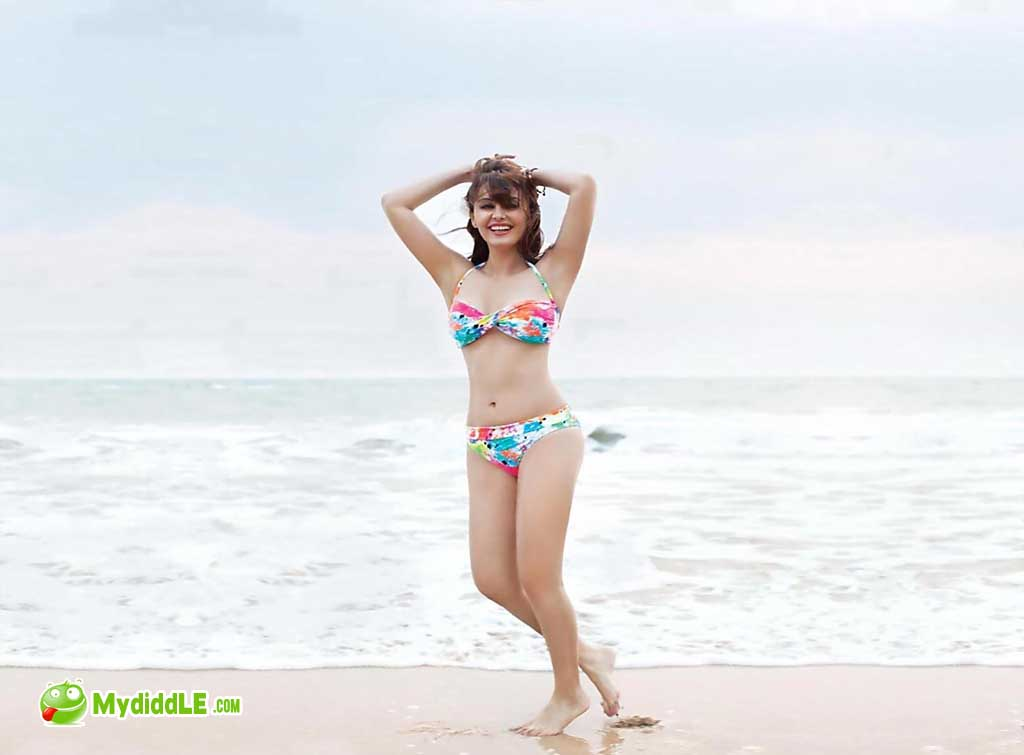 Minissha Lamba in a Floral Two Piece Bikini on the beach
