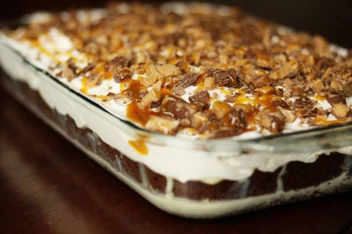 Chocolate Caramel Toffee Poke Cake