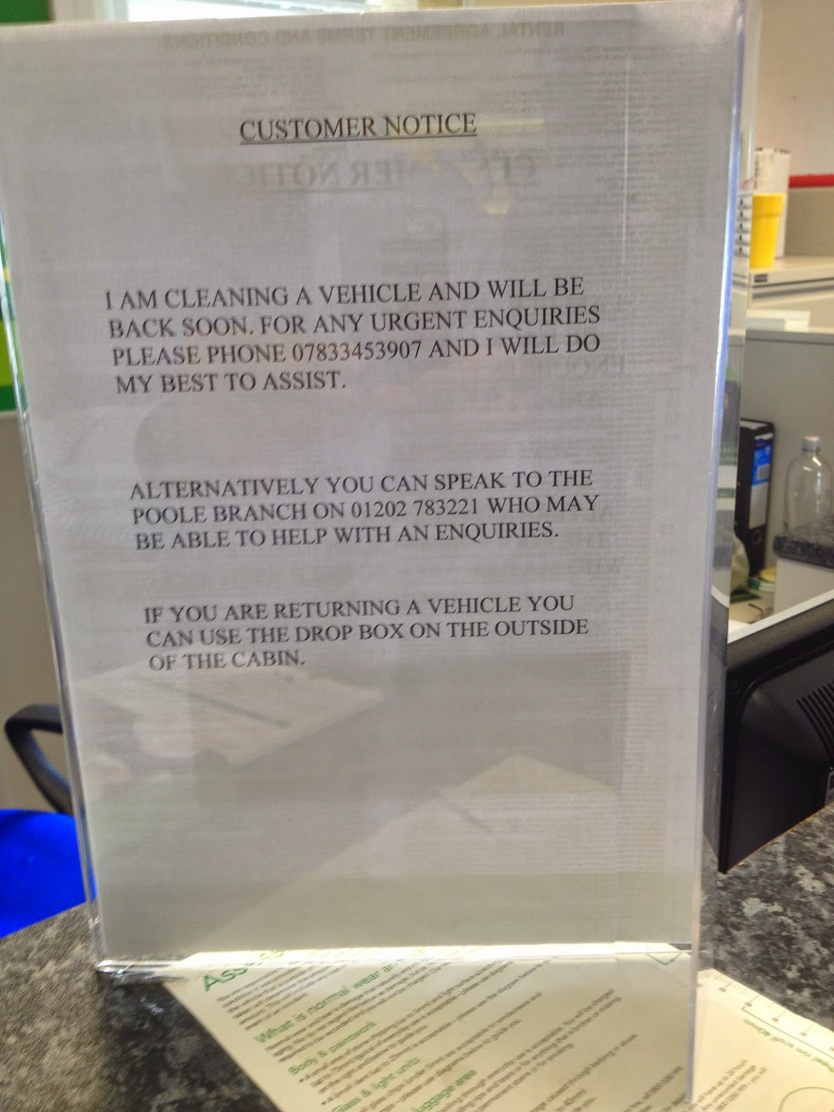 Europcar at Bournemouth Airport had no staff at their desk